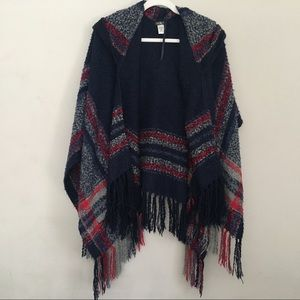 Hooded poncho boucle navy one size